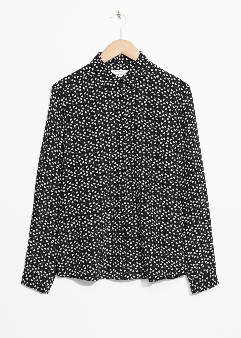 Front image of Stories collared silk shirt in black