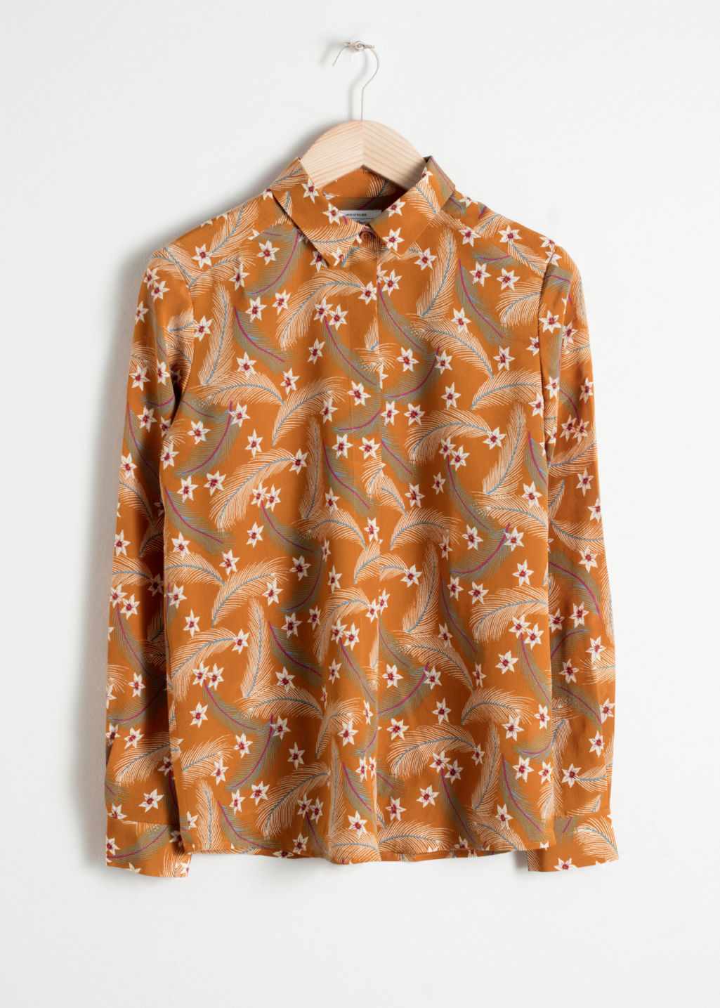 Front image of Stories collared silk shirt in orange