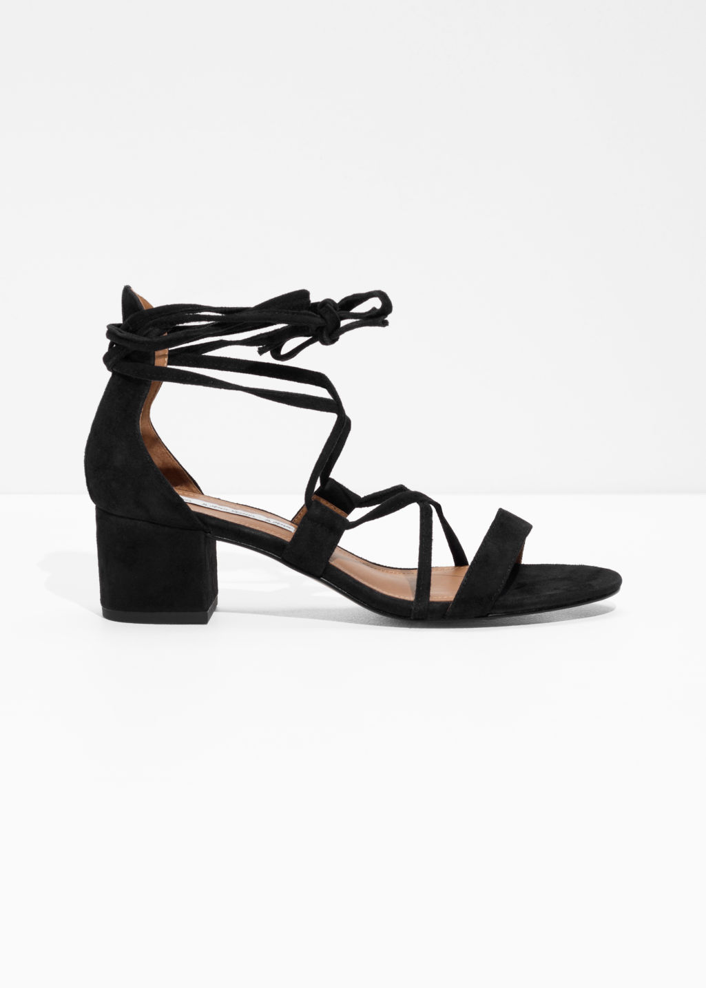Front image of Stories suede lace up sandalette in black