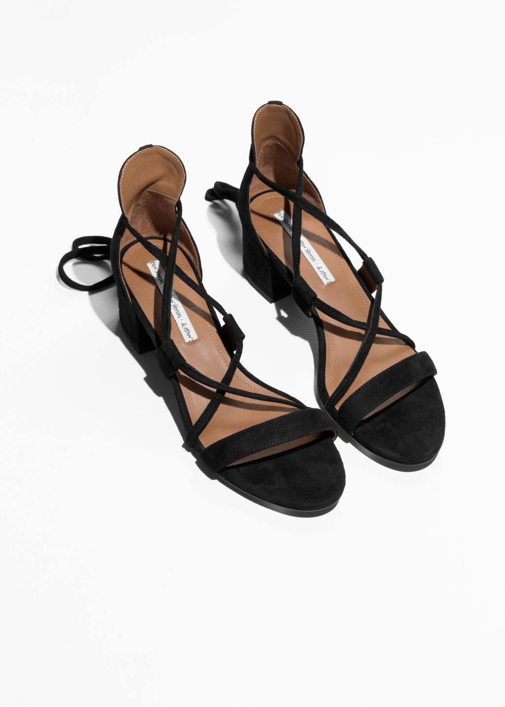 Back image of Stories suede lace up sandalette in black