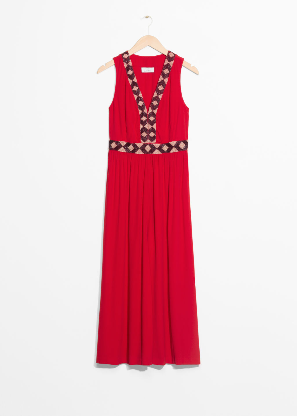Front image of Stories embroidery maxi dress in red