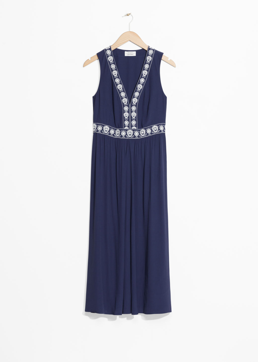Front image of Stories embroidery maxi dress in blue