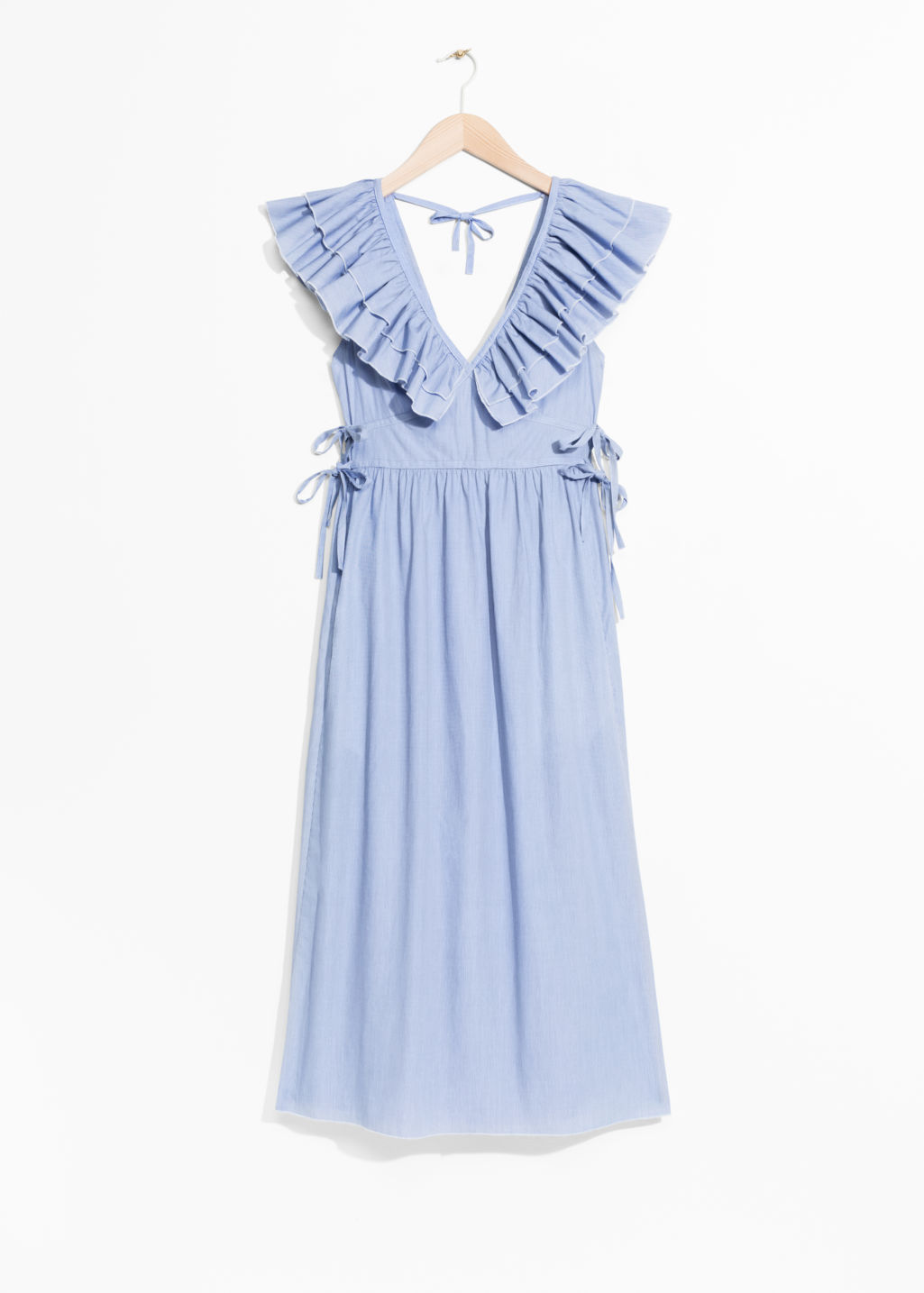 Front image of Stories frills and ties dress in blue