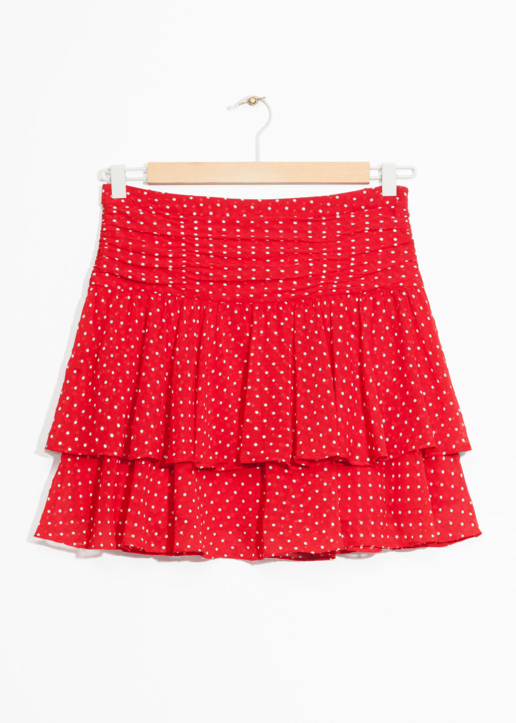 Front image of Stories frill skirt in red