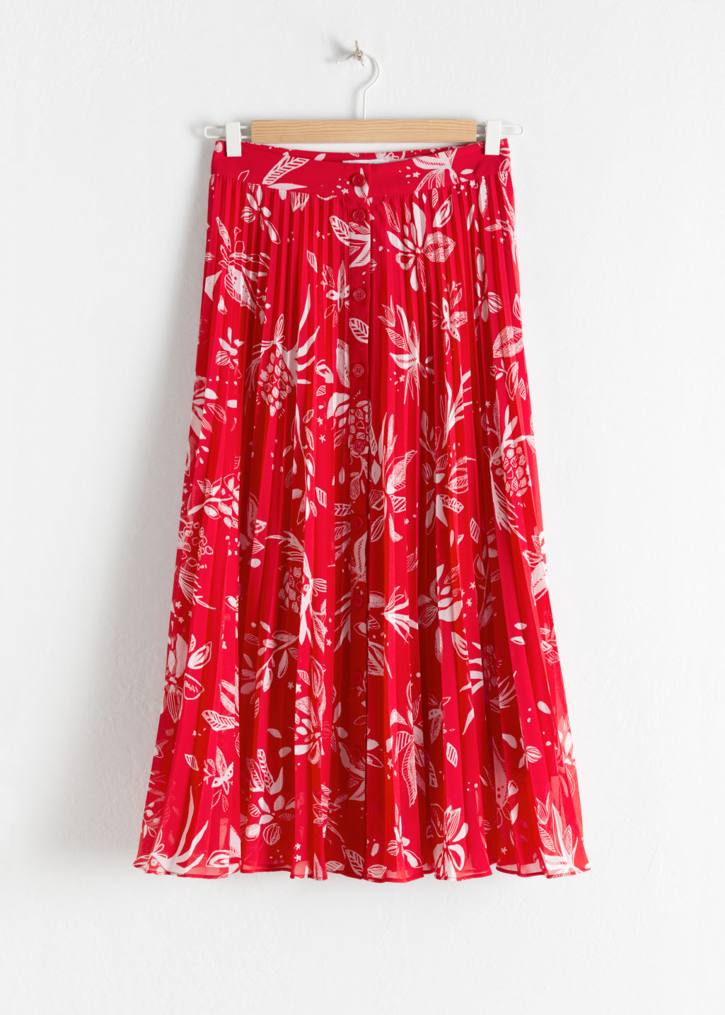 Front image of Stories pleated skirt in red