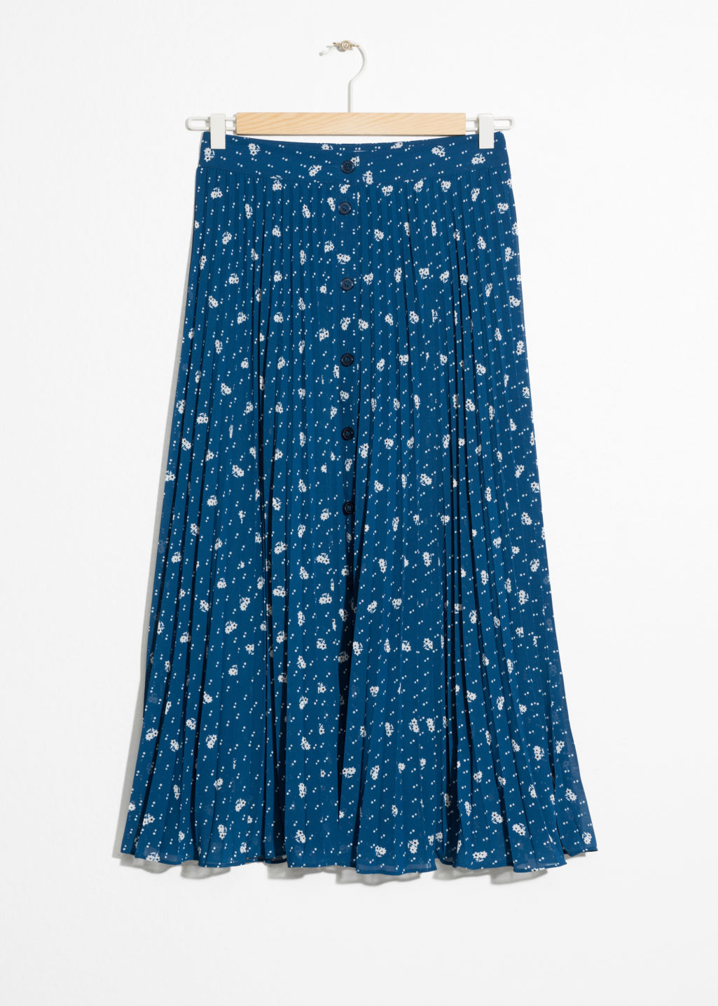 Front image of Stories pleated skirt in blue