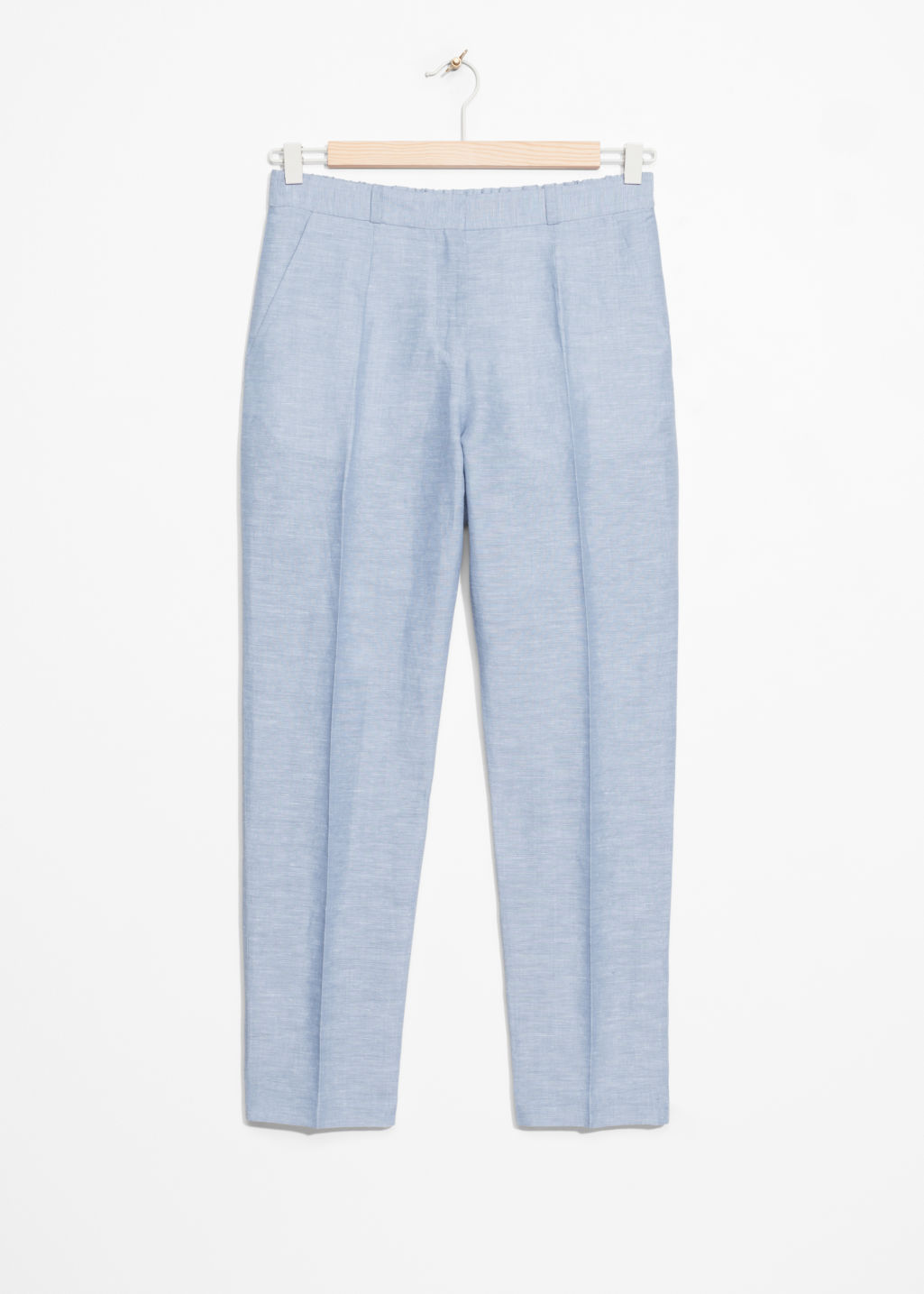 Front image of Stories tailored trousers in blue
