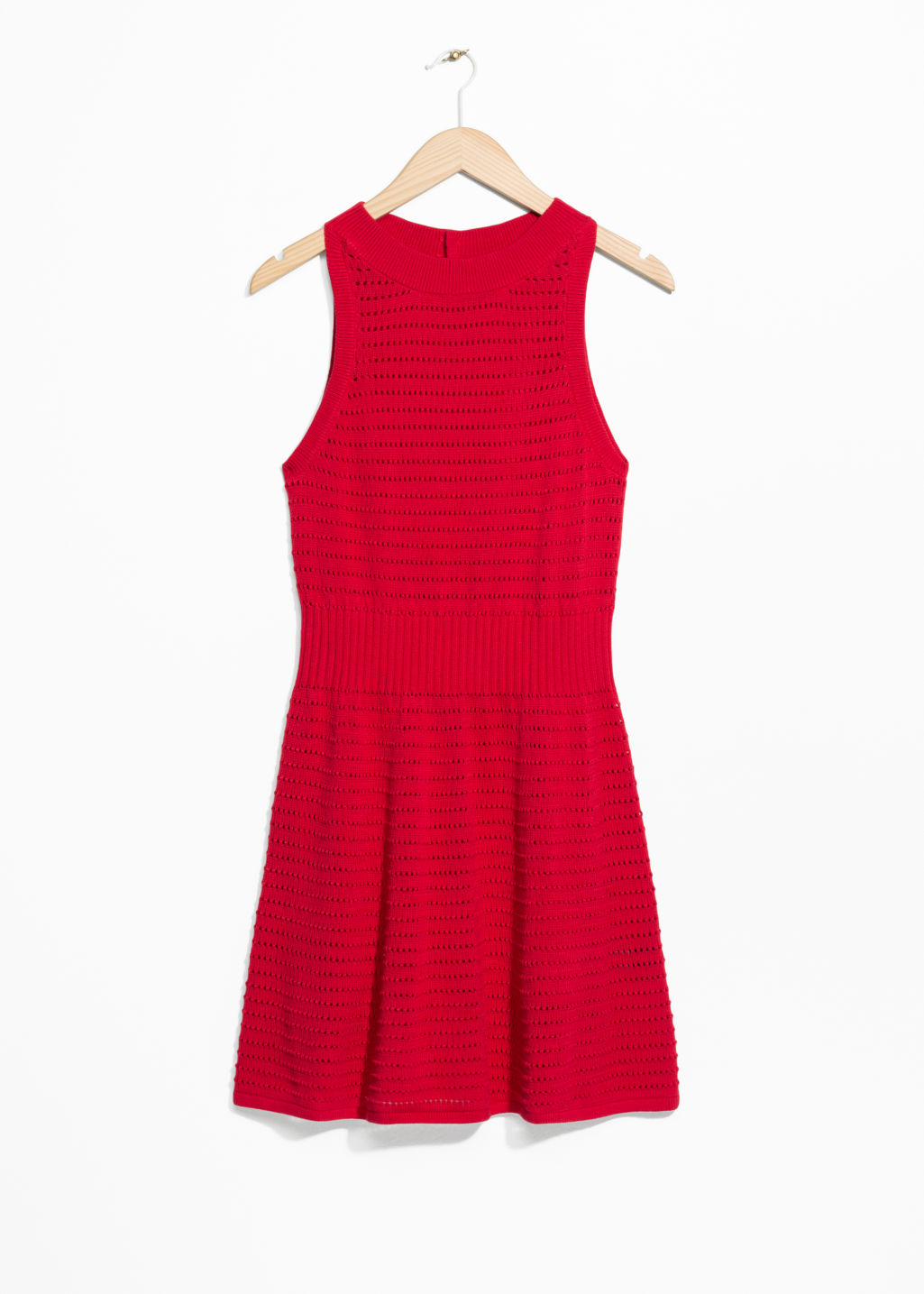 Front image of Stories pointelle knit dress in red