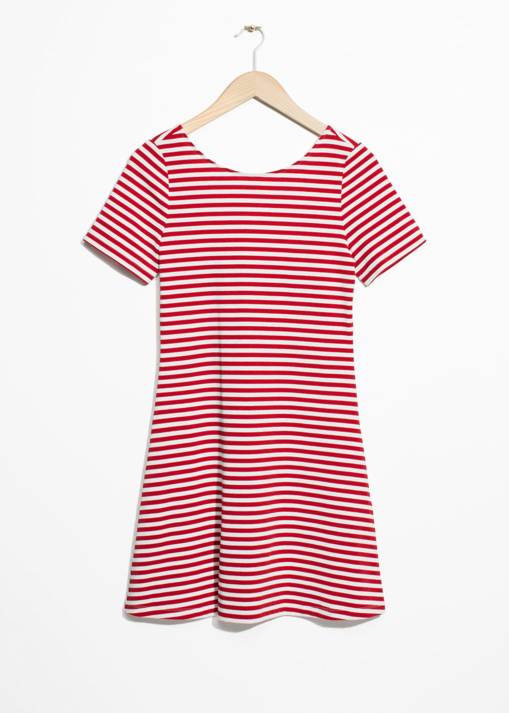 Front image of Stories scoop back jersey dress in red