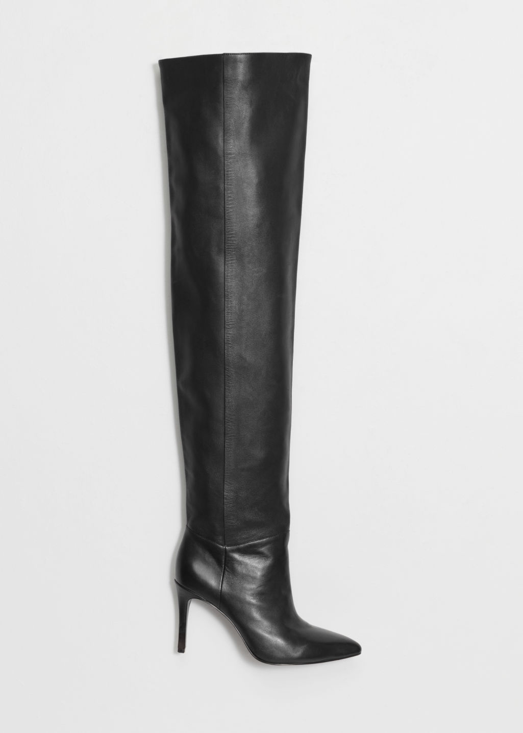 Front image of Stories high shaft leather boots in black