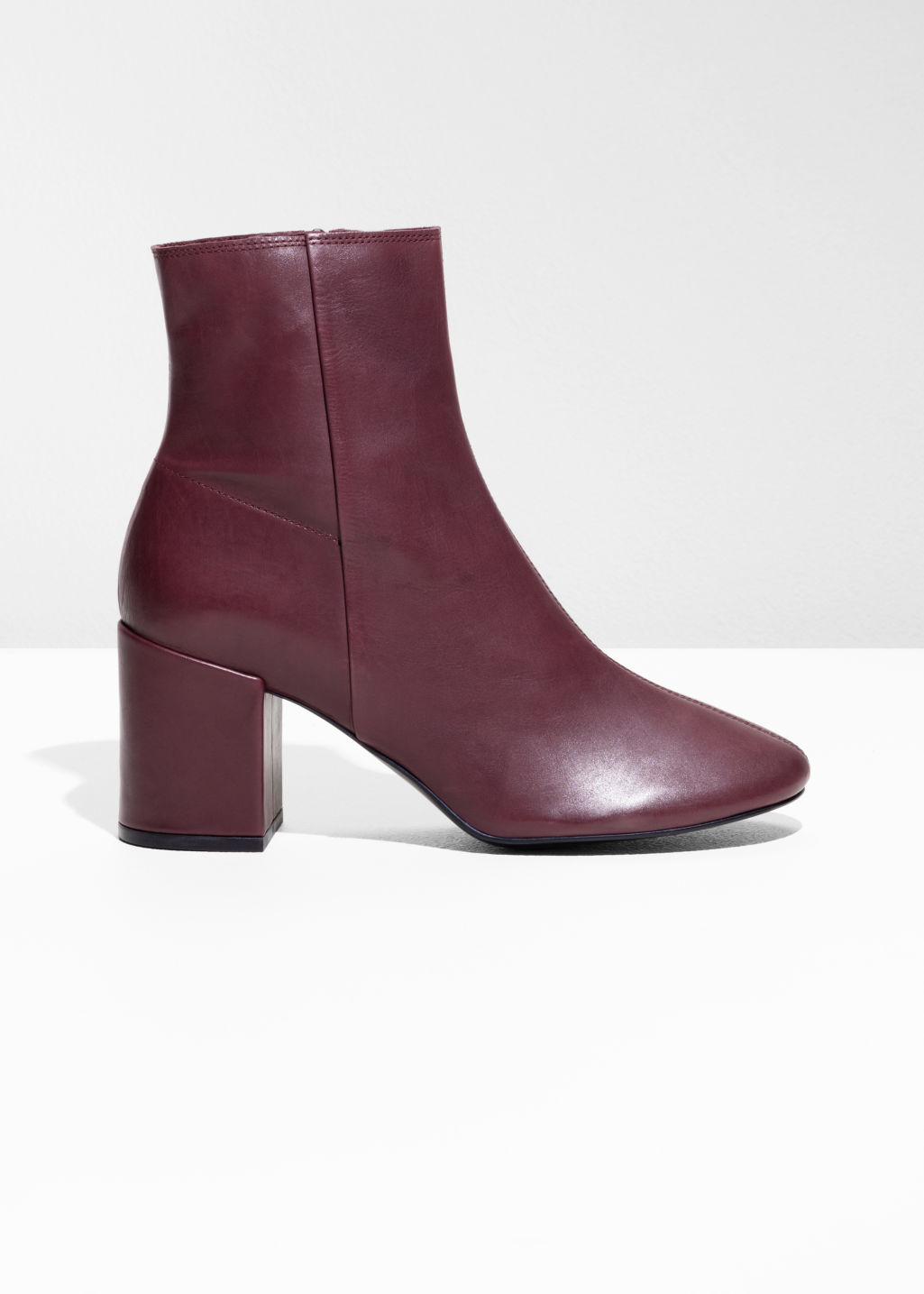 Front image of Stories unlined leather boots in red