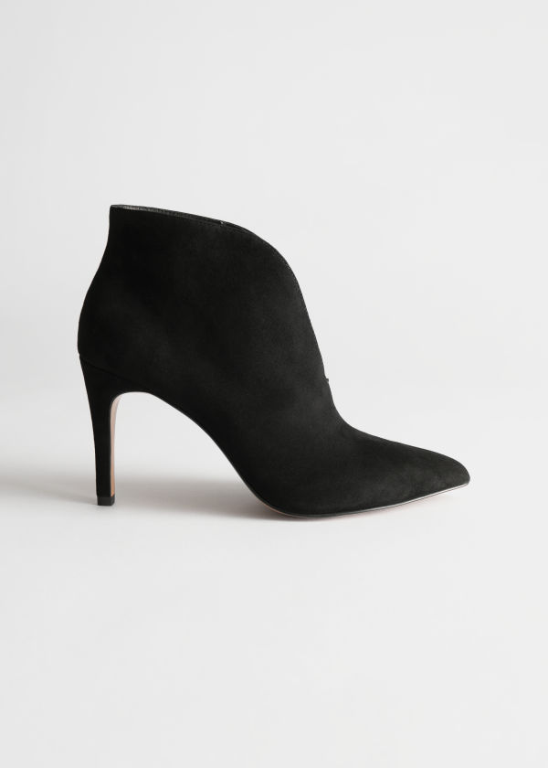 Front image of Stories front cut suede boots in black