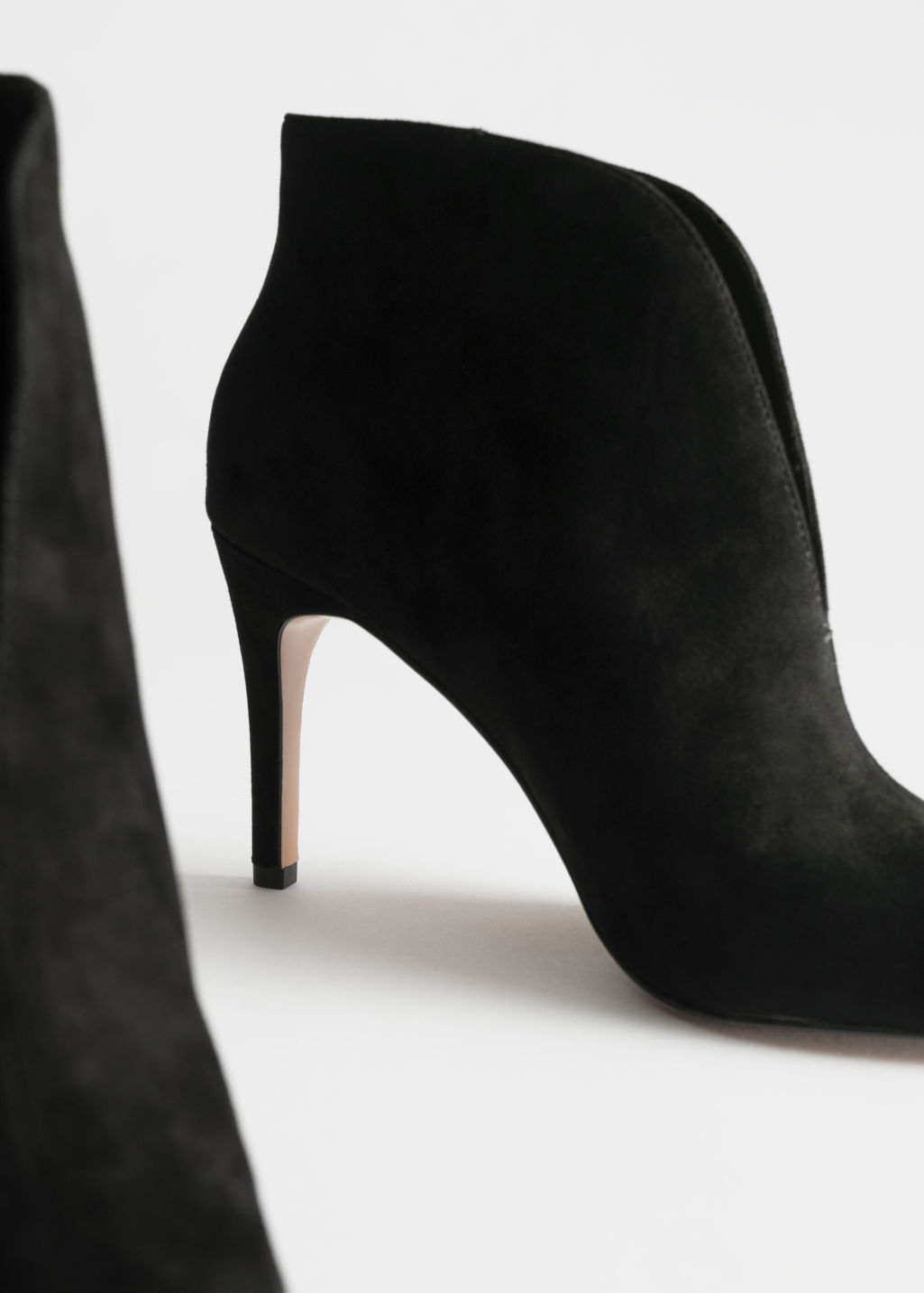 Back image of Stories front cut suede boots in black