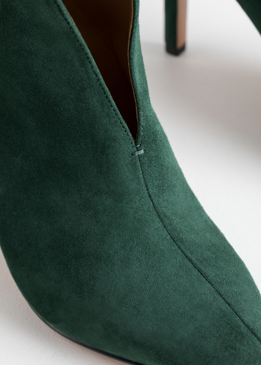 Back image of Stories front cut suede boots in green