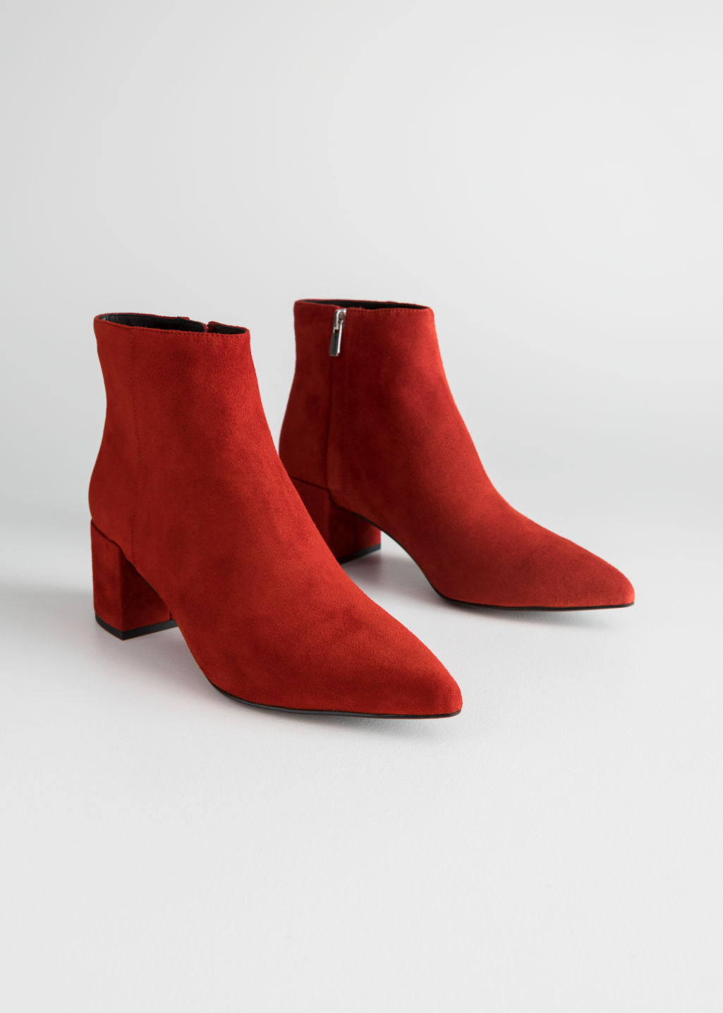 Back image of Stories leather ankle boots in red