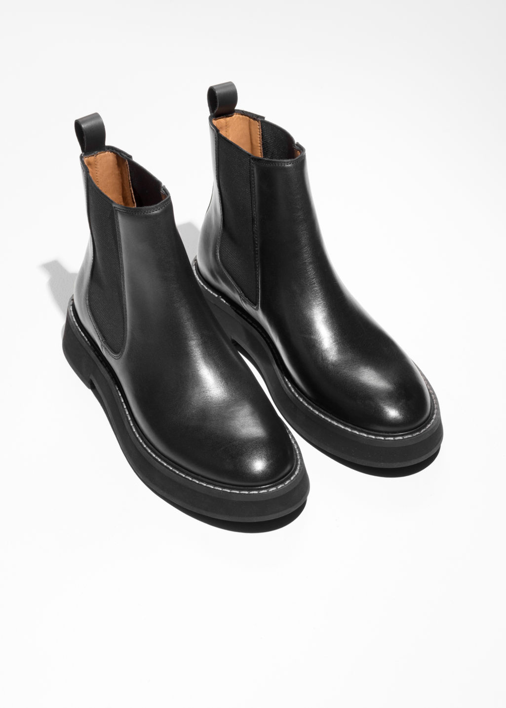 Back image of Stories leather chelsea boots in black