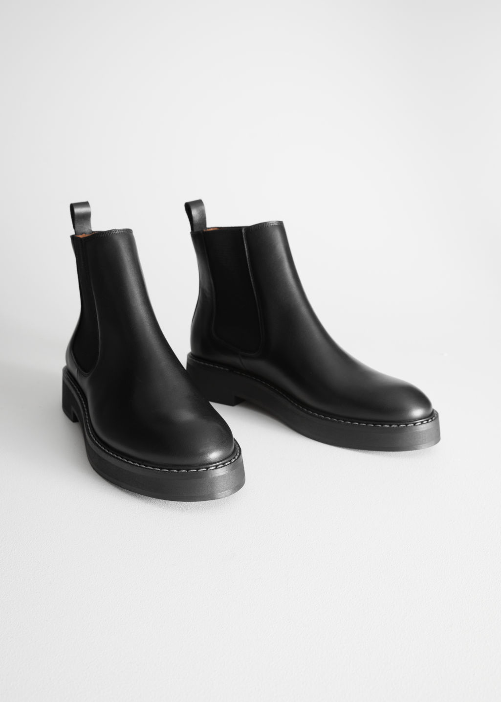 Leather Chelsea Boots - Black - Ankleboots - & Other Stories