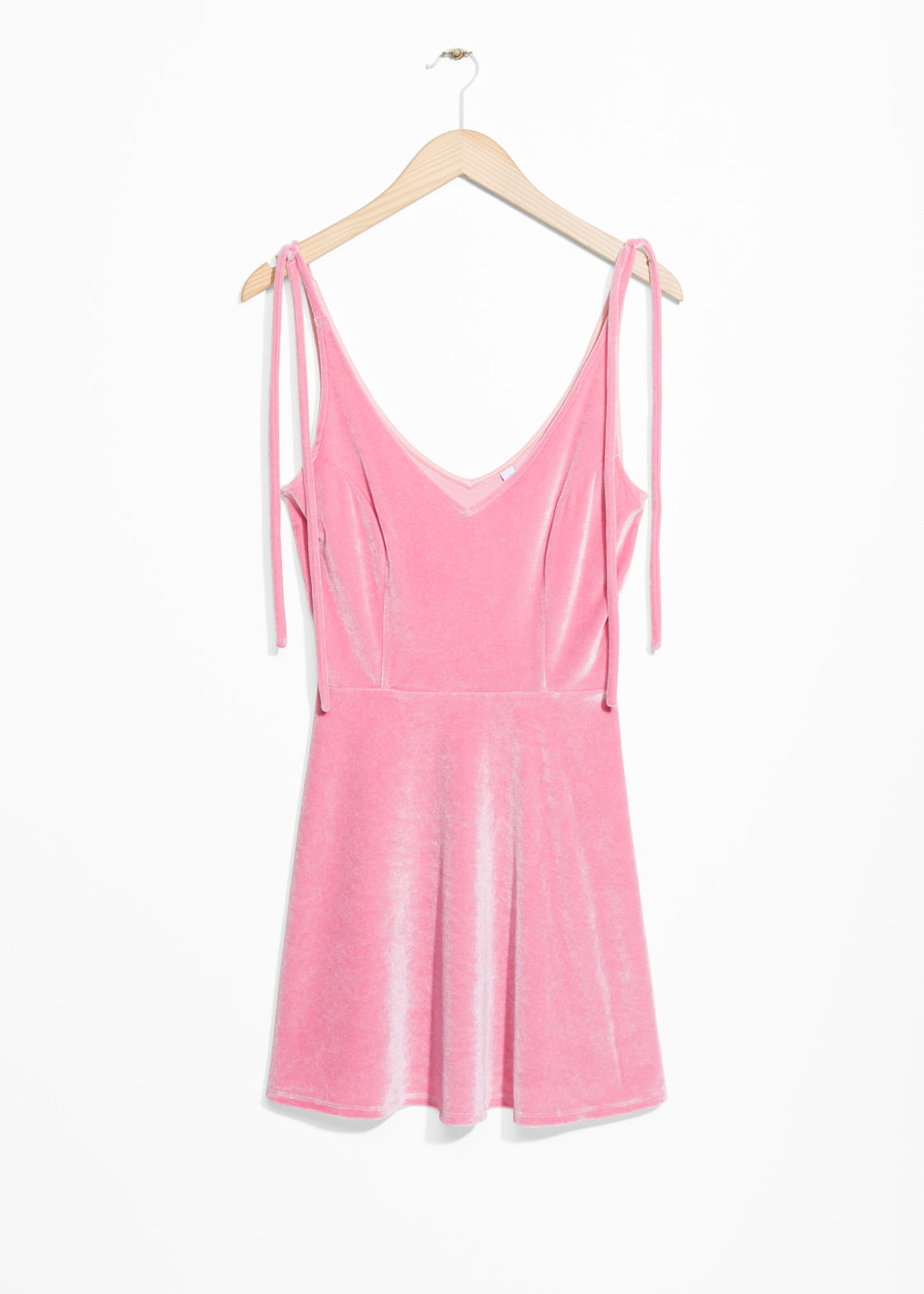Front image of Stories velour tie strap dress in pink