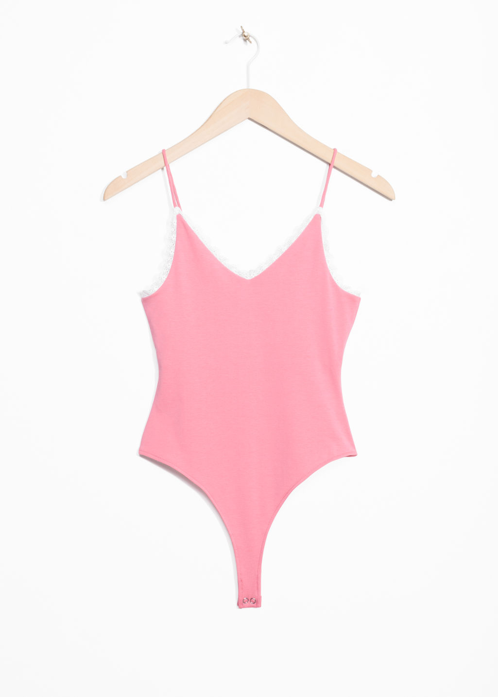 Front image of Stories lace trim bodysuit in pink