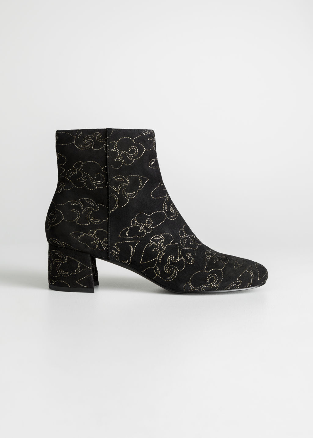 Front image of Stories suede boots in black