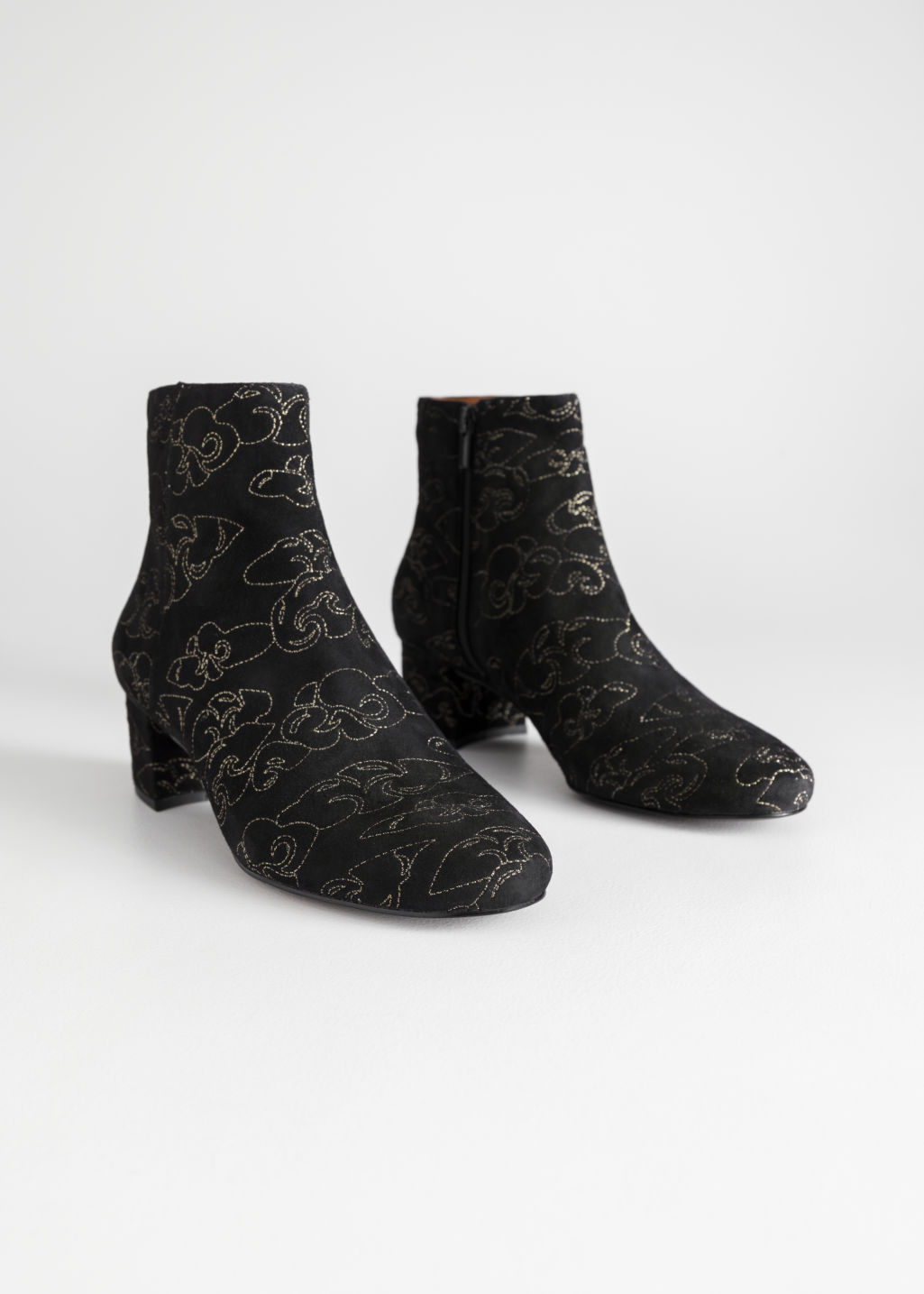 Back image of Stories suede boots in black