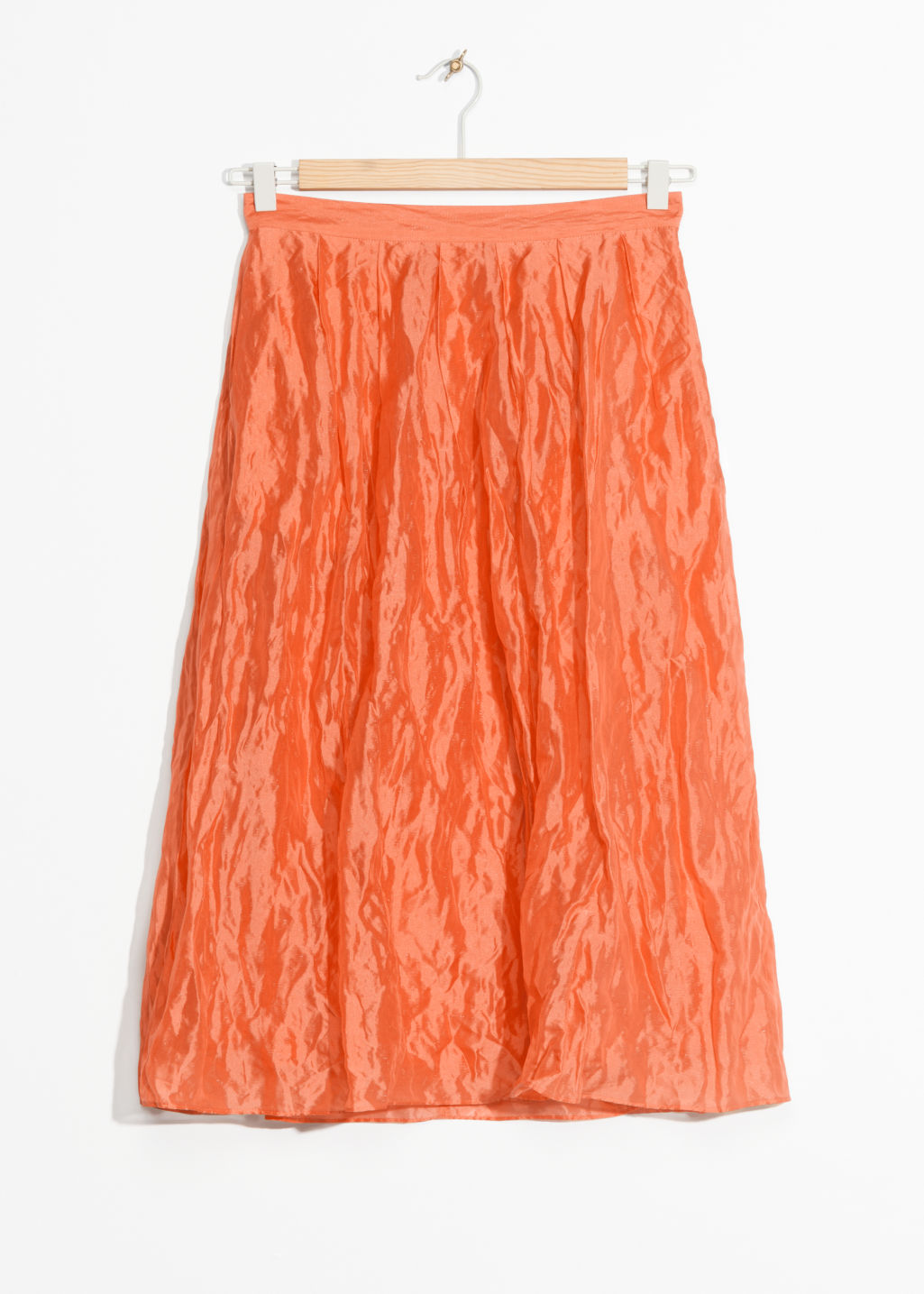 Front image of Stories silk blend skirt in orange