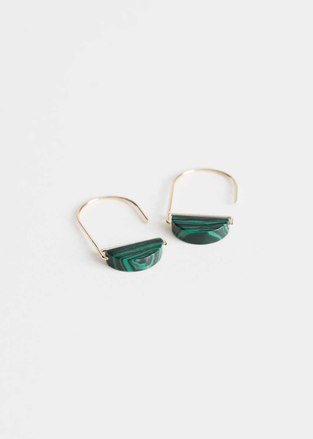 Front image of Stories stone earrings in green