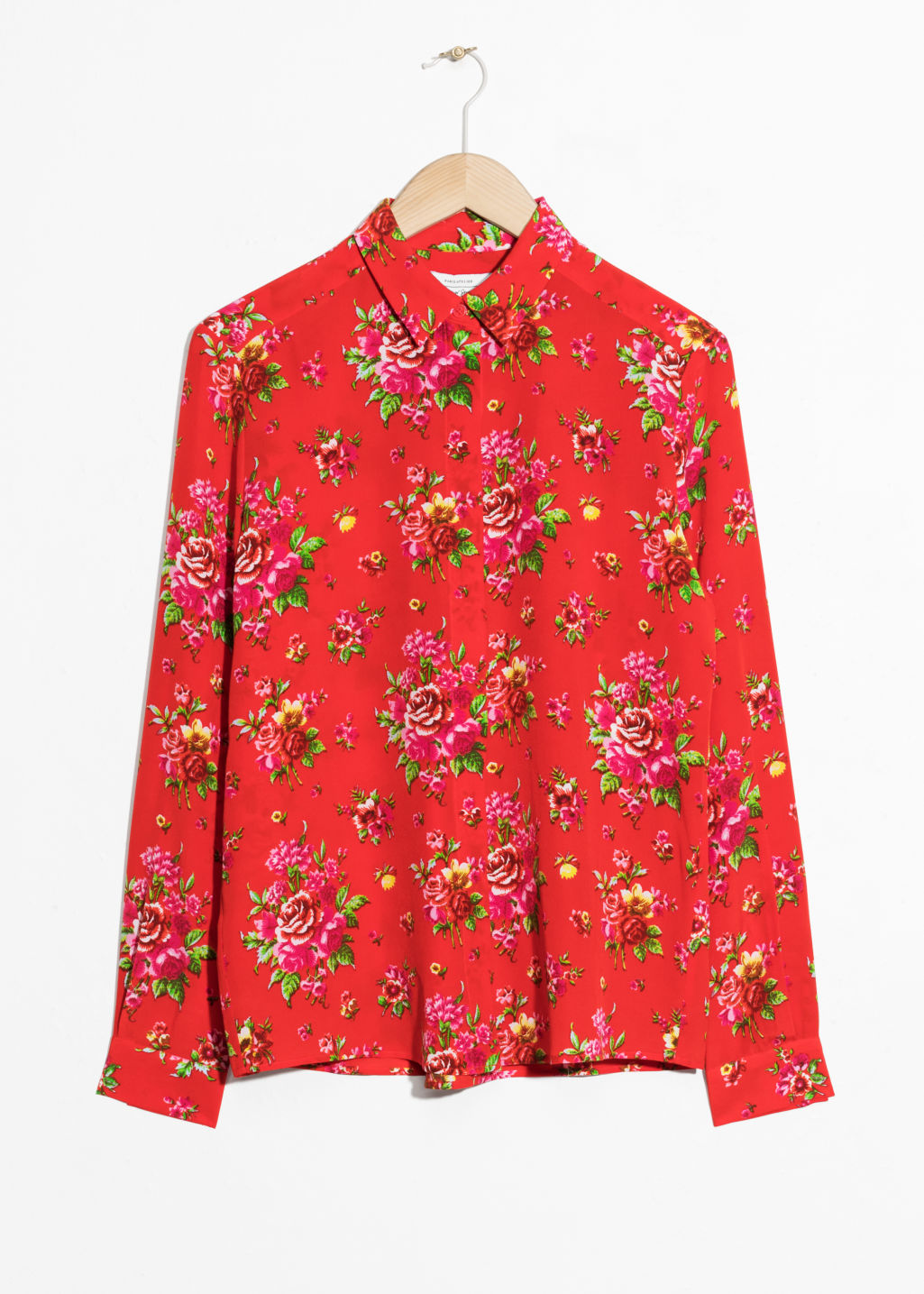 Front image of Stories silk shirt in red