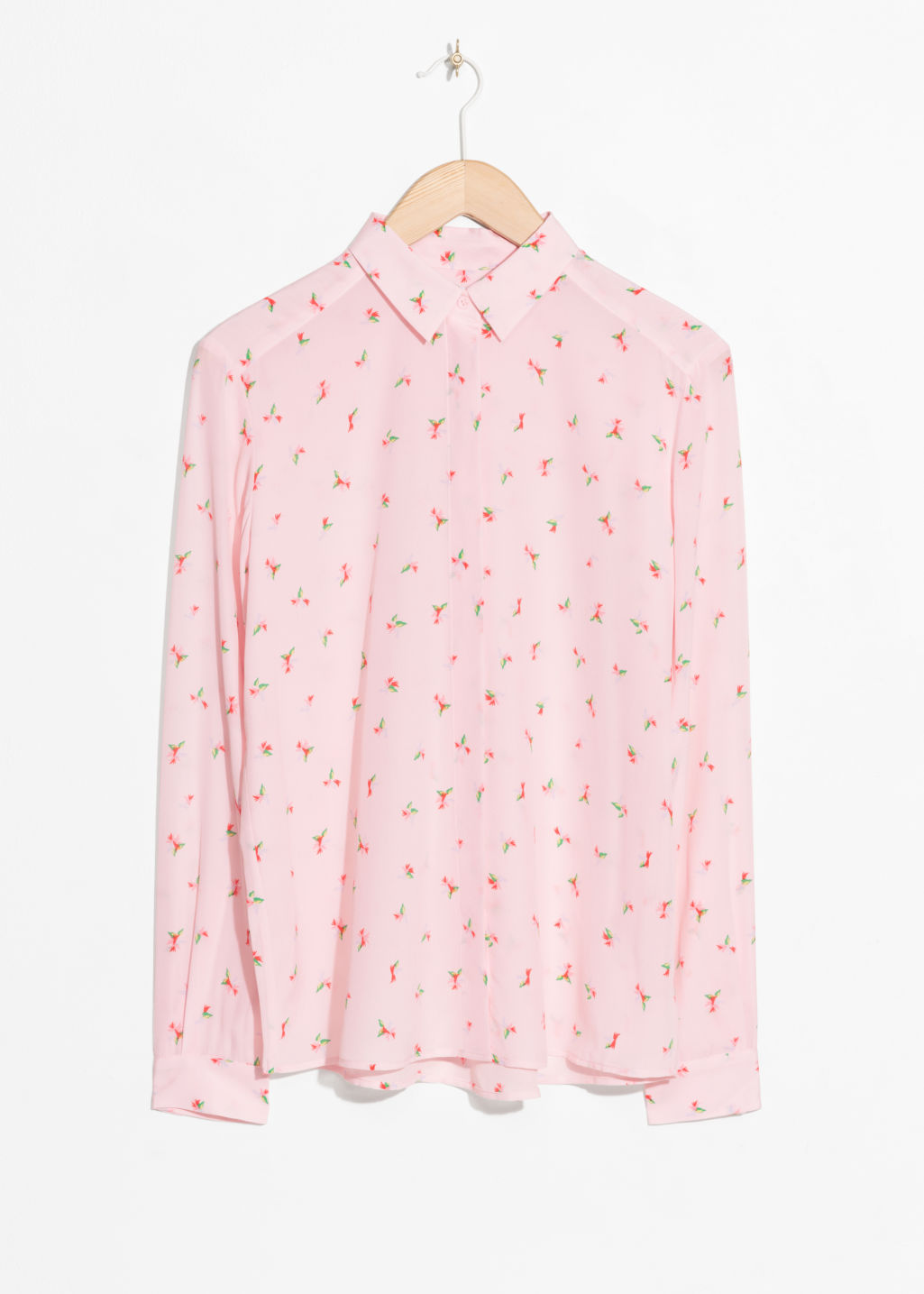 Front image of Stories silk shirt in pink