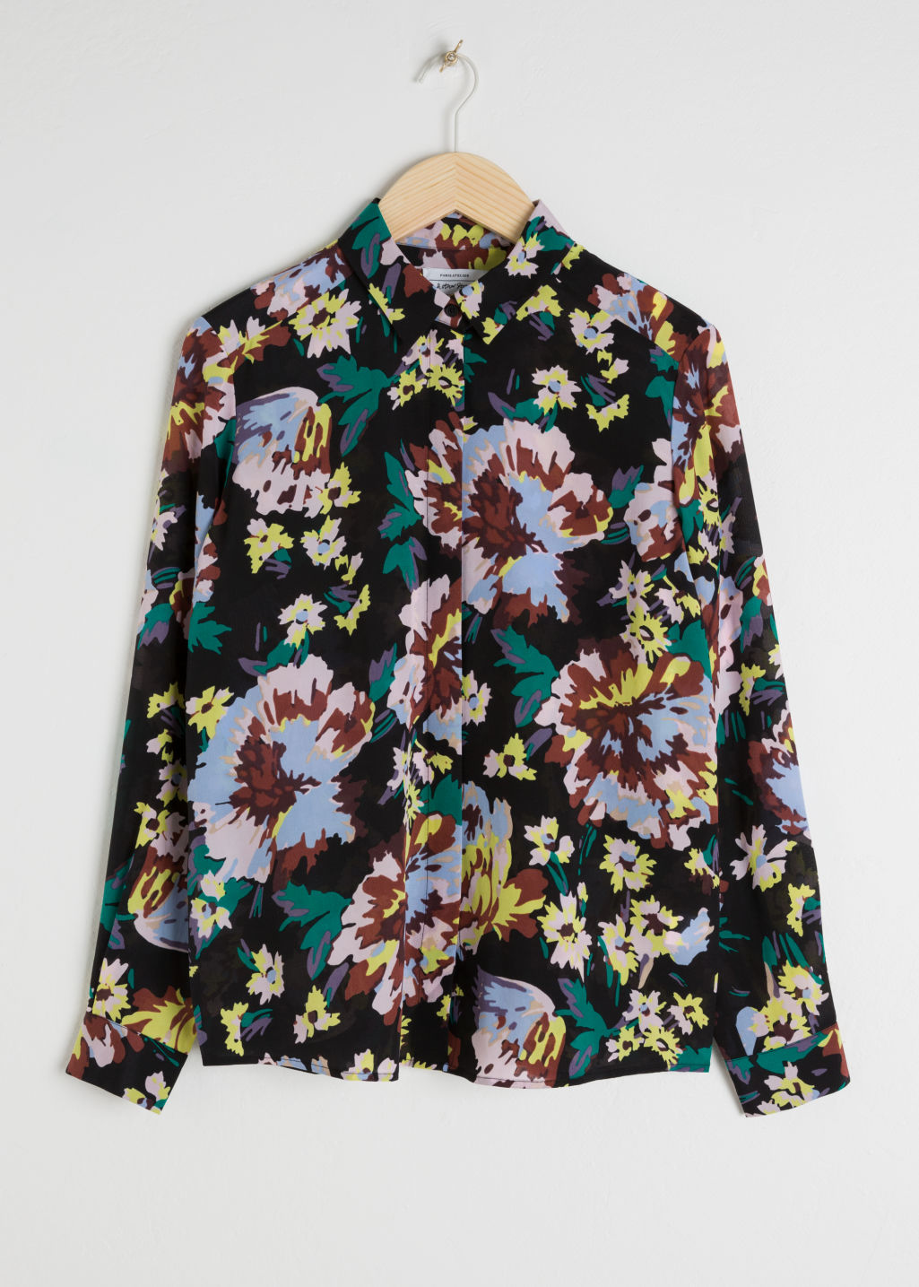 Front image of Stories silk shirt in black