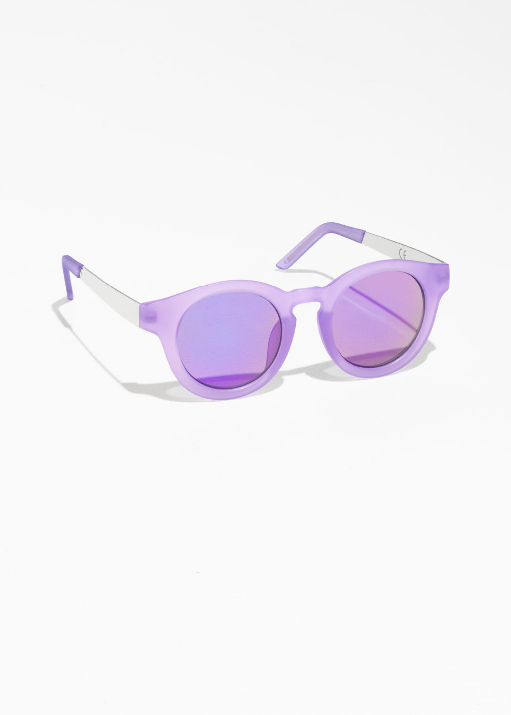 Front image of Stories mirrored round frame sunglasses in purple