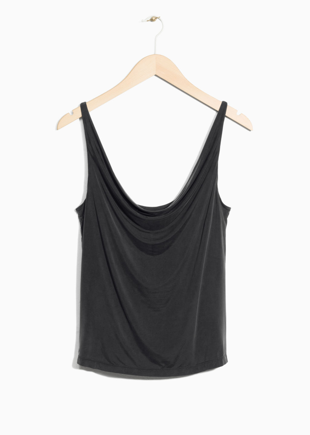 Front image of Stories drapey cupro top in black