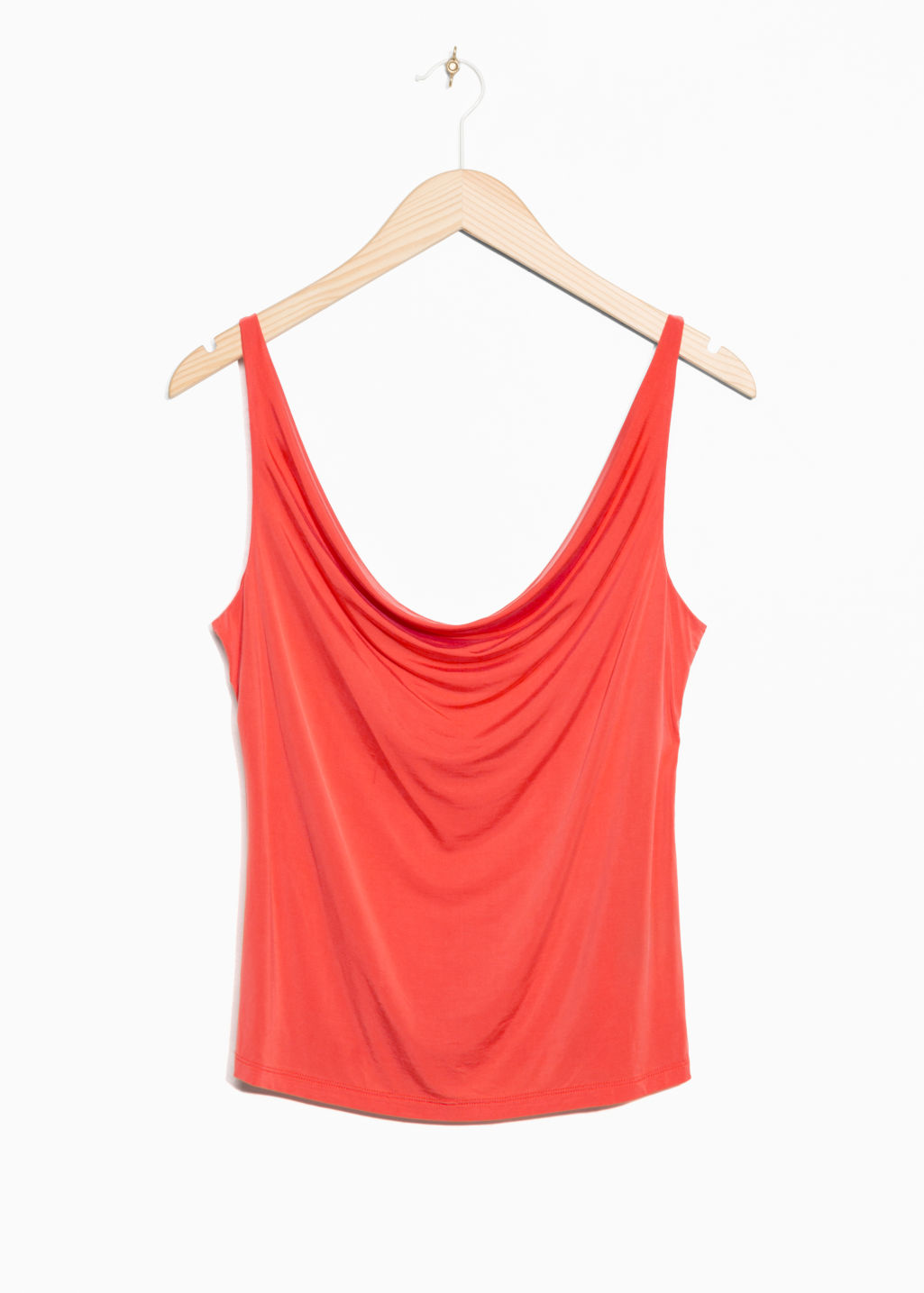 Front image of Stories drapey cupro top in orange