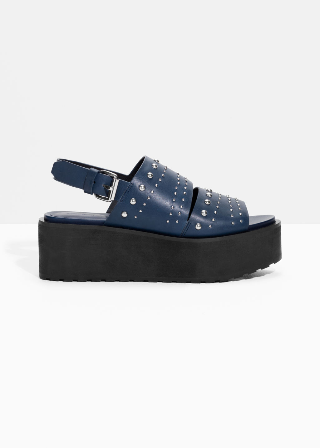 Front image of Stories leather flatforms in blue