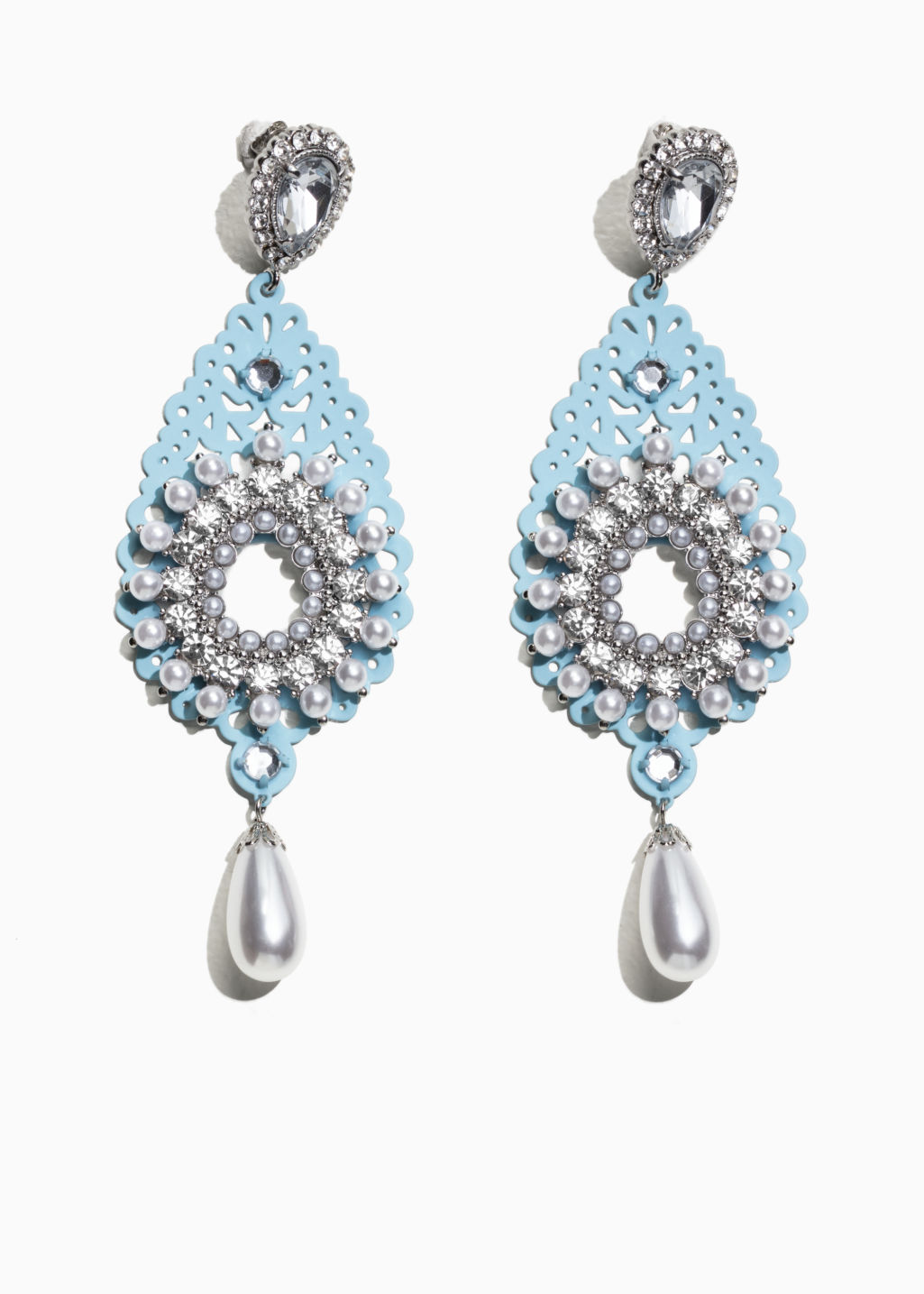 Front image of Stories pearl crystal earrings in turquoise