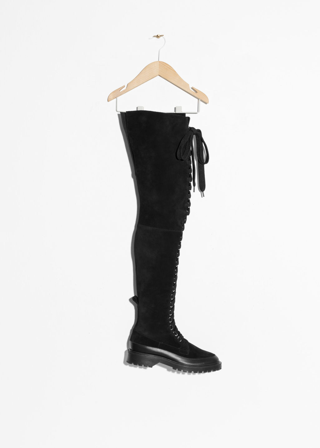 3fb8afa5350 Suede Lace-Up Over Knee Boot - Black - Knee high boots -   Other ...