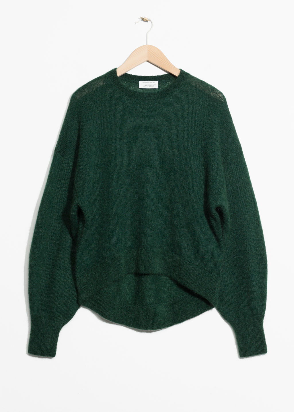 Front image of Stories mohair jumper in green