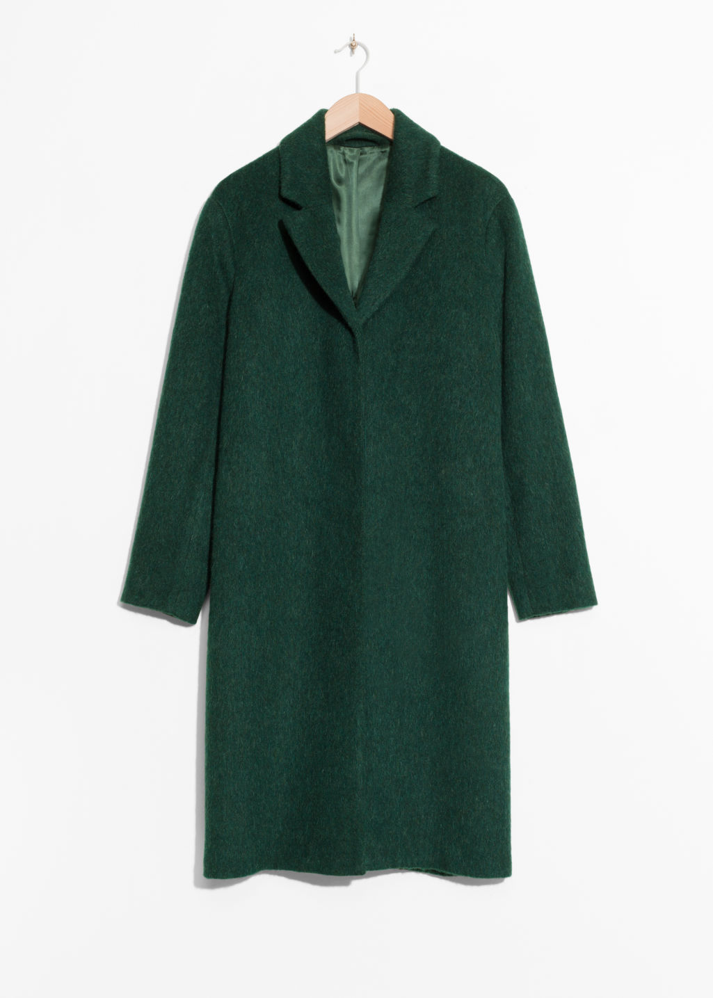 Front image of Stories wool & mohair blend long coat in green