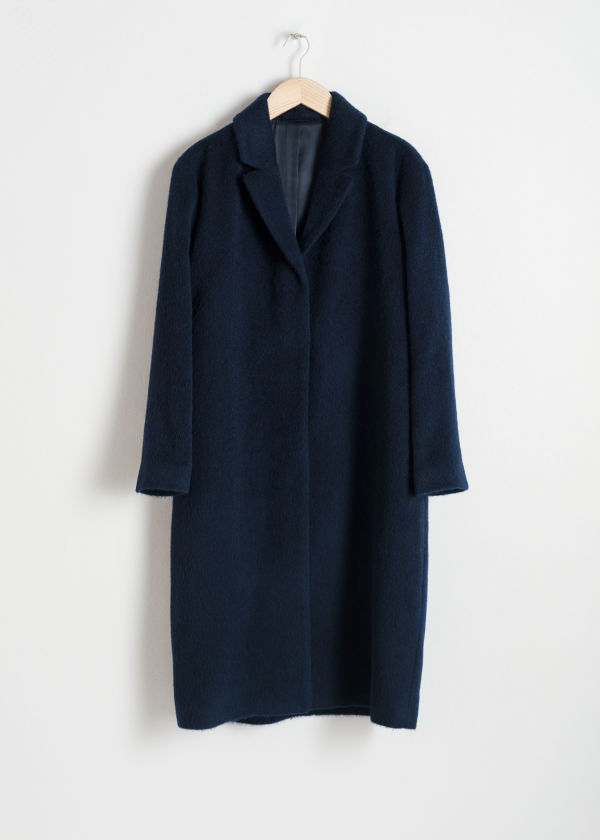Front image of Stories wool blend long coat in blue