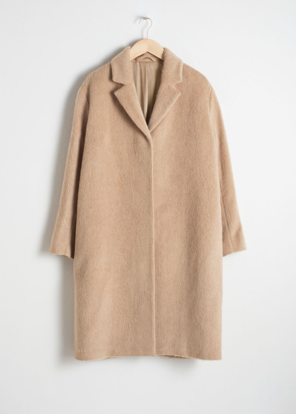 Front image of Stories wool blend long coat in beige