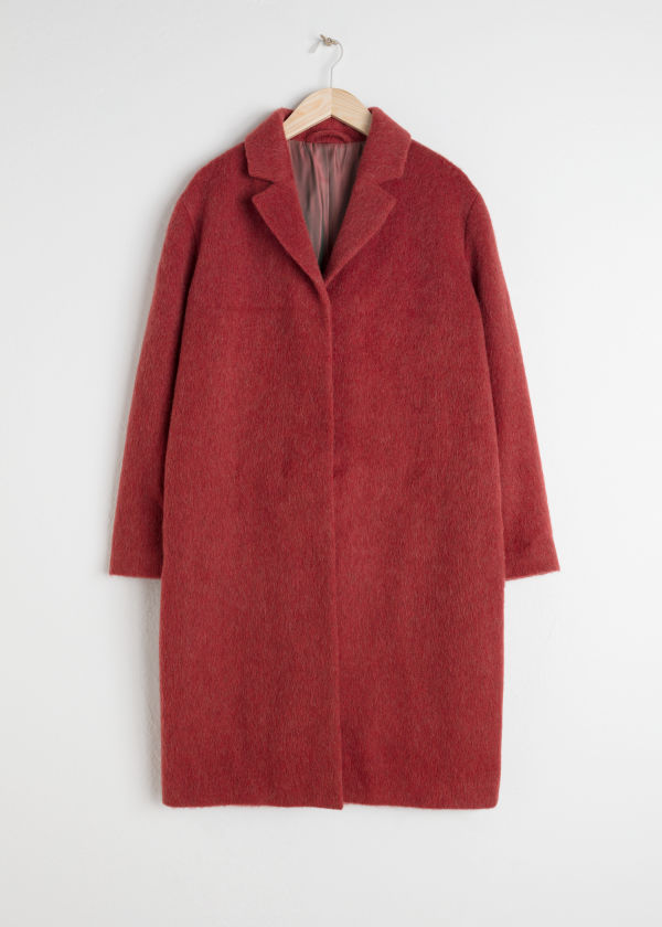 Front image of Stories wool blend long coat in red