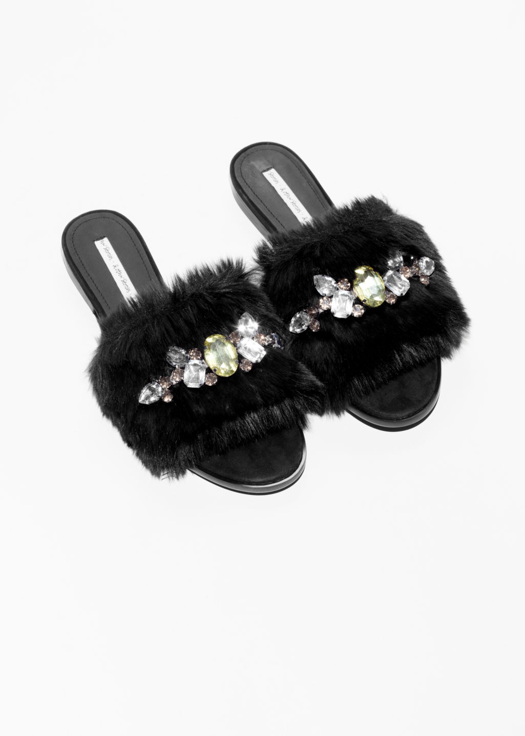 Back image of Stories gemstone faux fur slippers in black