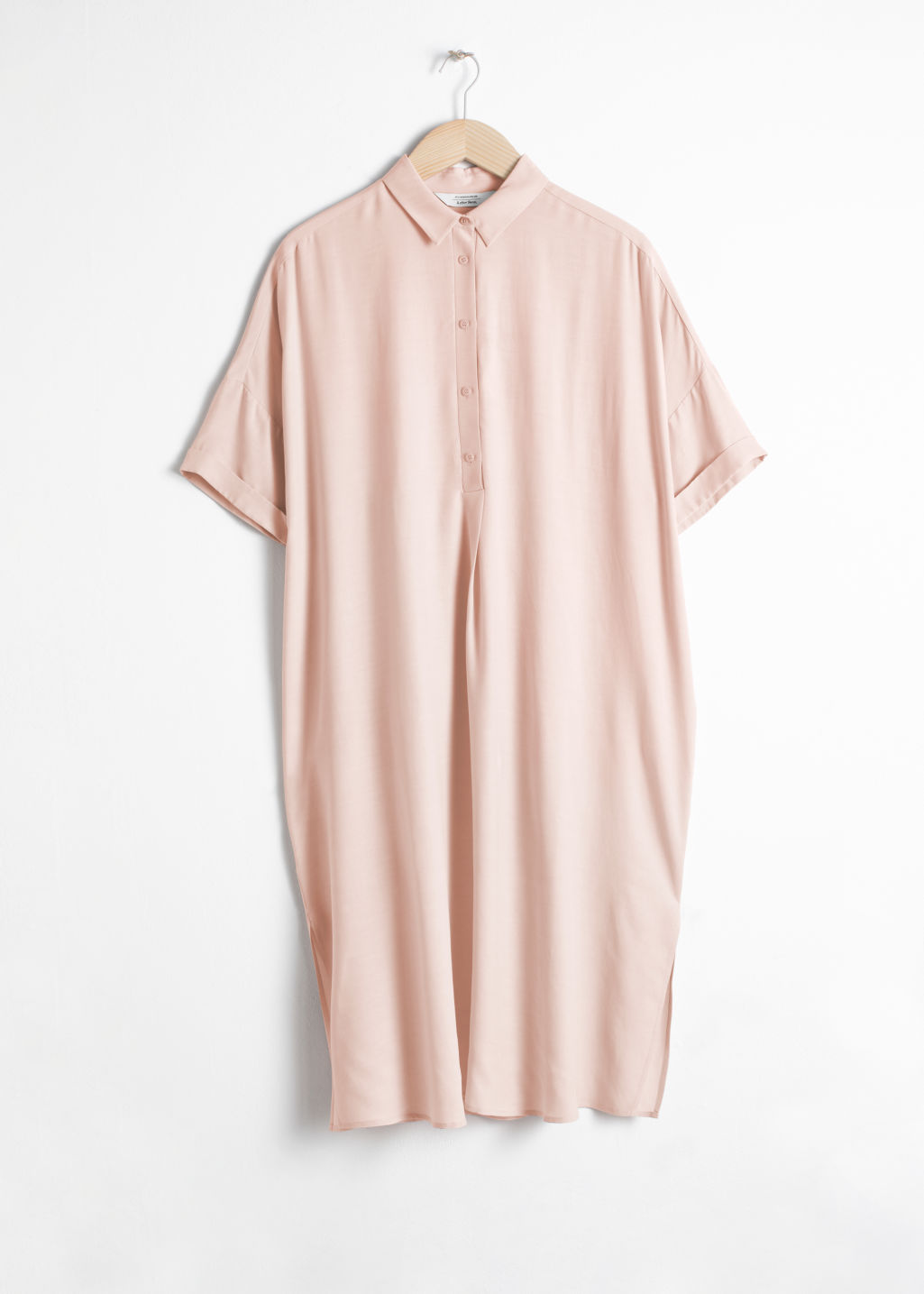 Front image of Stories oversized shirt dress in beige