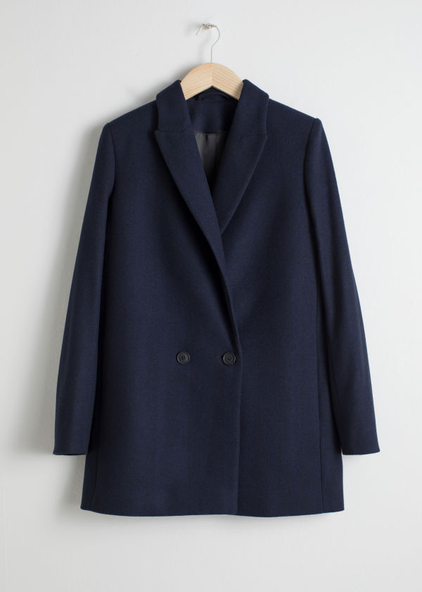 Front image of Stories double-breasted blazer in blue