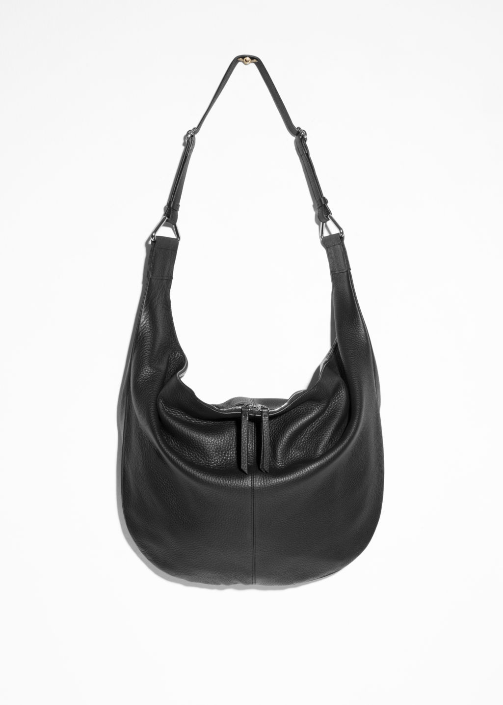 Front image of Stories leather hobo in black
