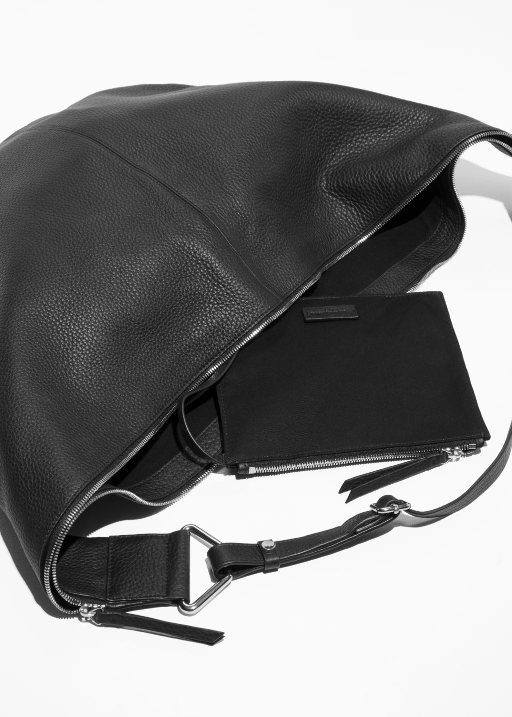 Back image of Stories leather hobo in black