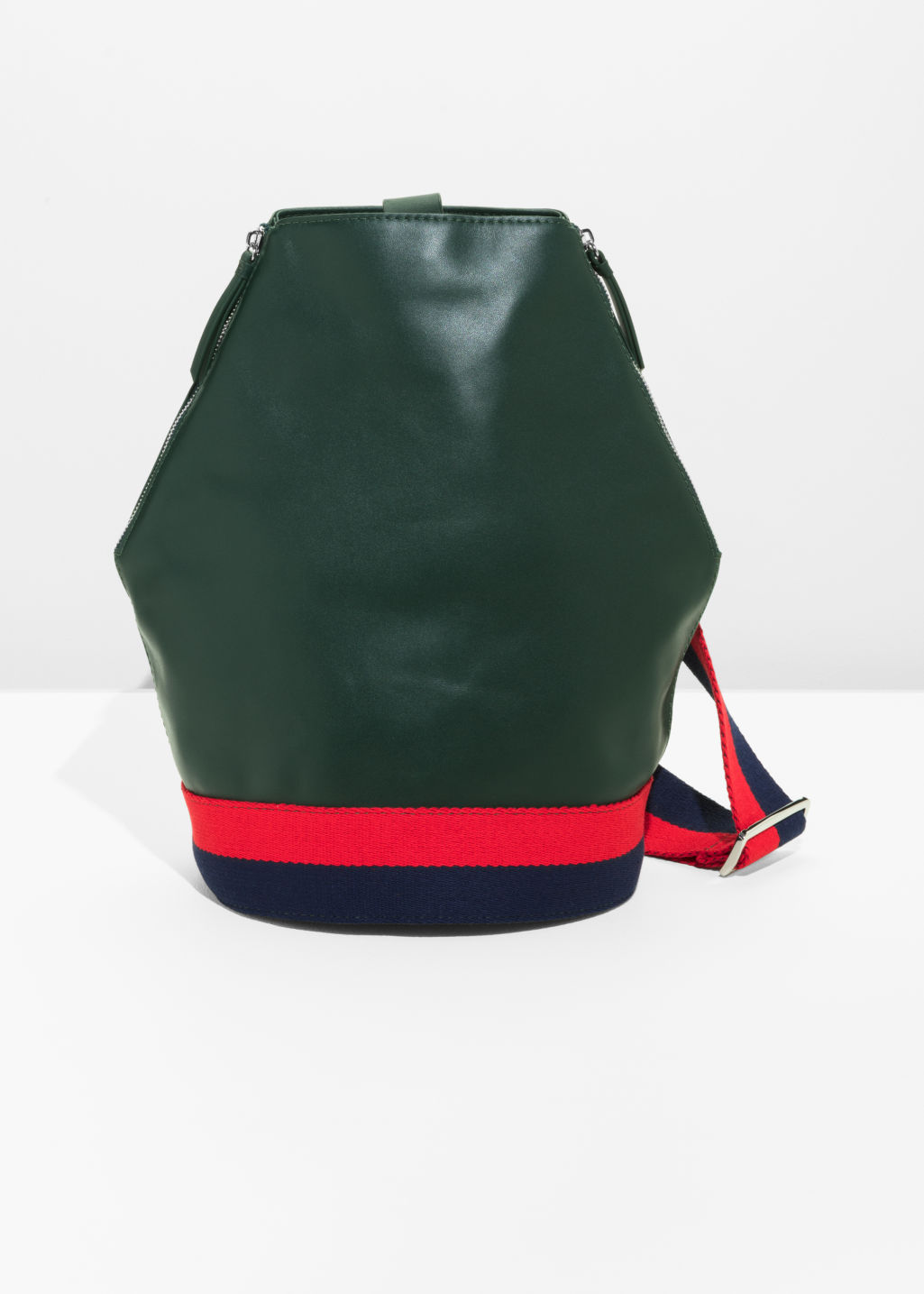 Front image of Stories leather backpack in green
