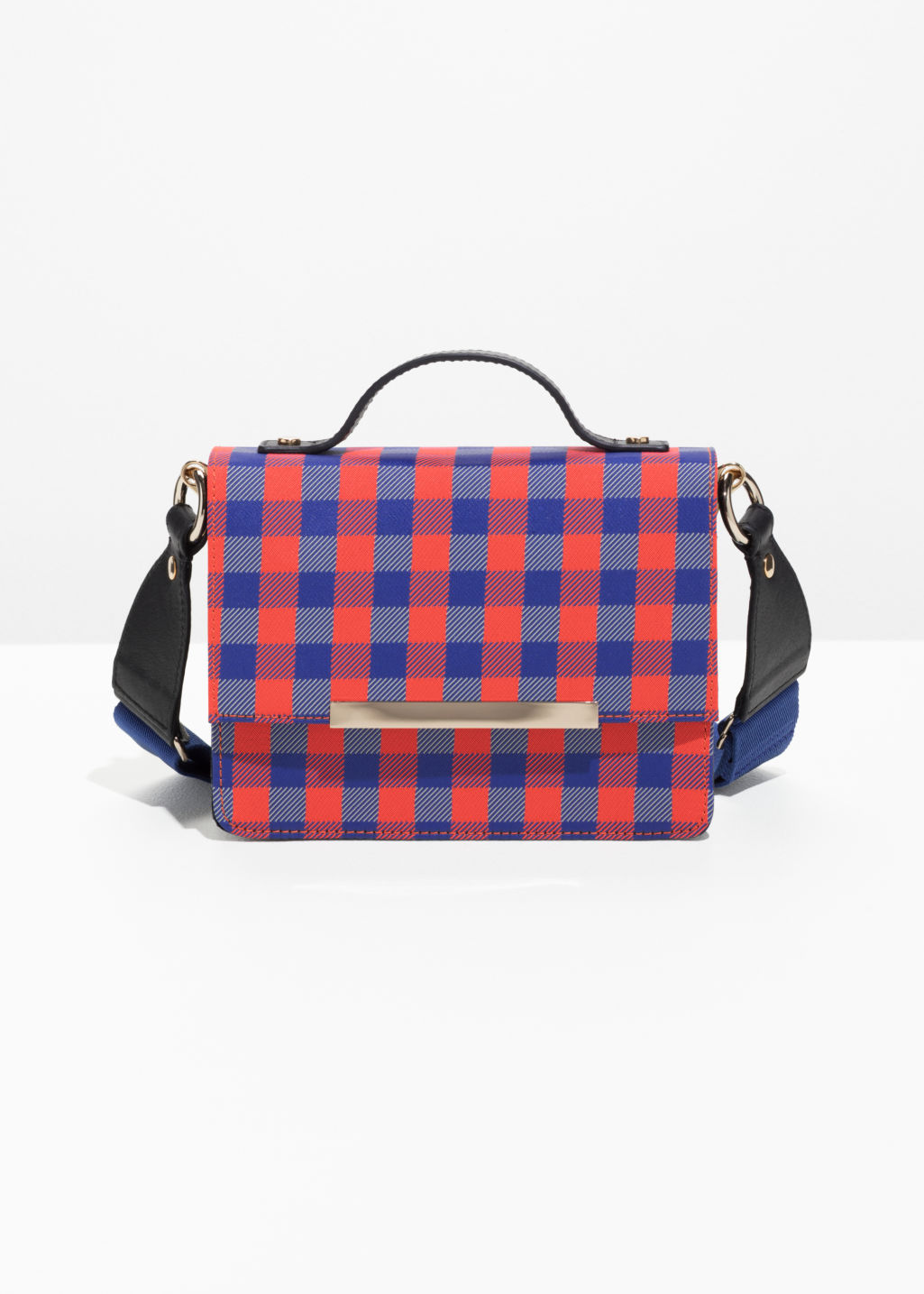 Front image of Stories ruby red stud mini bag in blue