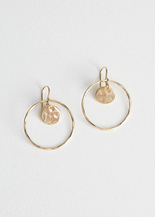 Front image of Stories hoop & disc earrings in gold