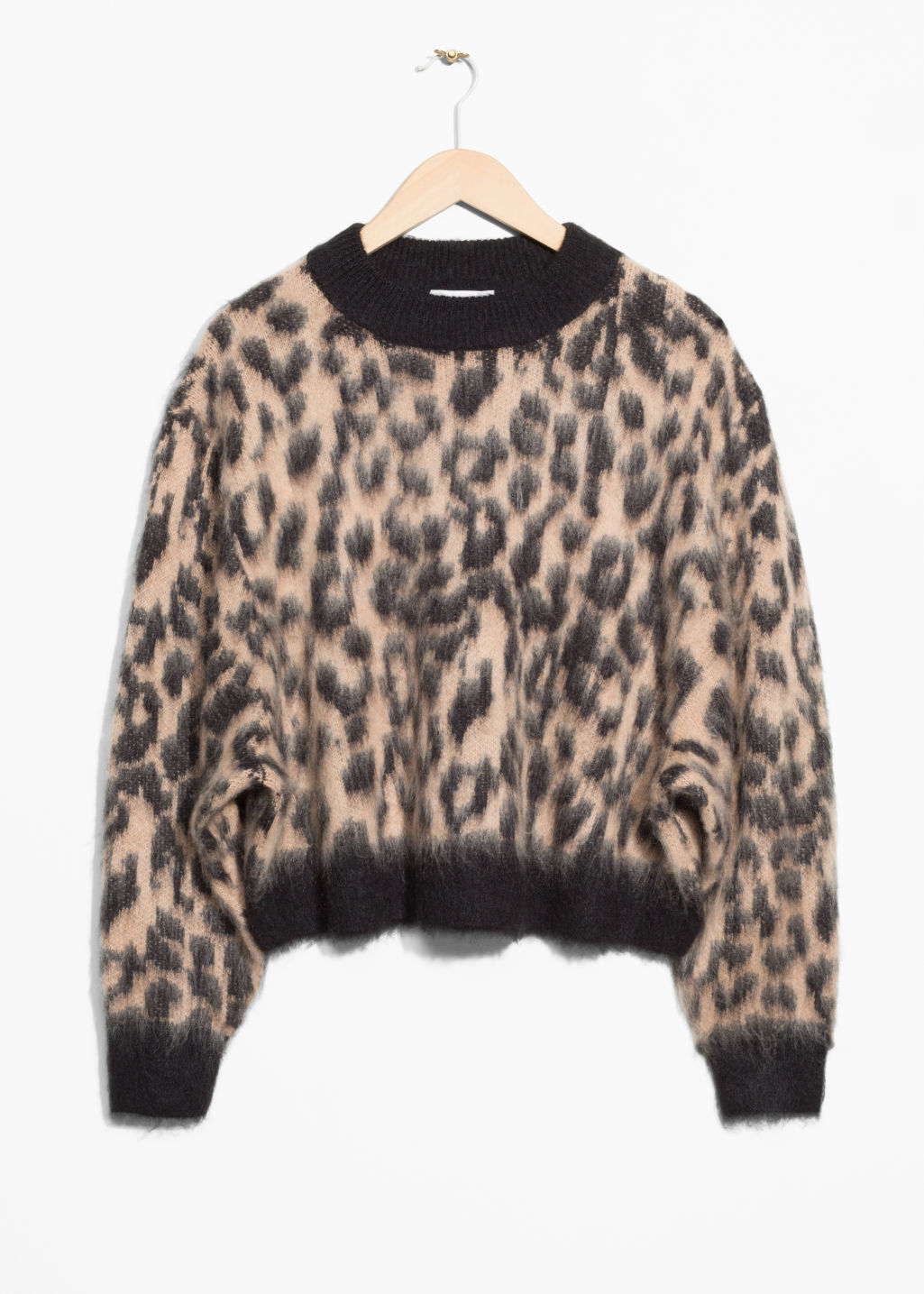 Front image of Stories fuzzy leopard jumper in beige